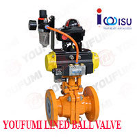 YOUFUMI PFA LINED MIDSPLIT BALL VALVE PNEUMATIC OPERATED