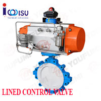 PNEUMATIC PTFE LINED LUG TYPE CONTROL BUTTERFLY VALVE