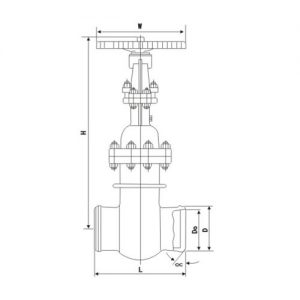 BUTT WELD VACCUM GATE VALVE MAIN CONNECTION DIMENSIONS