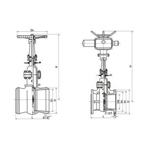 ELECTRIC WATER SEAL GATE VALVE MAIN DIMENSION