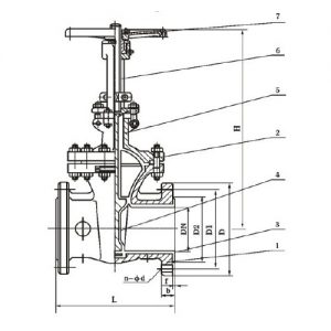 PTFE LINED GATE VALVE MAIN CONNECTION DIMENSIONS