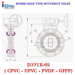 PVDF WORM GEAR TYPE BUTTERFLY VALVE