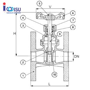 BRONZE GATE VALVE PN16 DRAWING