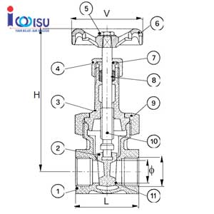 BRONZE GATE VALVE RISING STEM DRAWING