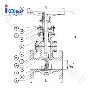 CAST IRON FLANGE GATE VALVE RISING ANSI 150 DRAWING