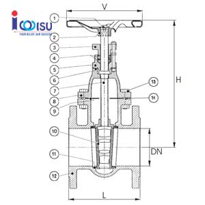 CAST IRON FLANGE GATE VALVE DRAWING