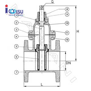 DUCTILE CAST IRON FLANGE GATE VALVE DRAWING