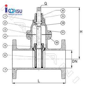 DUCTILE CAST IRON FLANGE GATE VALVE OVAL BODY DRAWING