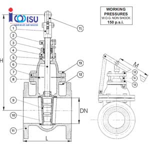 FLANGE CAST IRON QUICK OPENING GATE VALVE DRAWING